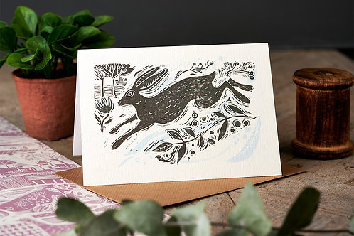 Running Hare Greetings Card