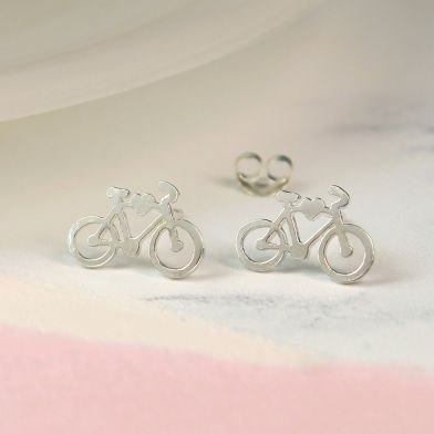 Sterling Silver Bicycle Stud Earrings
