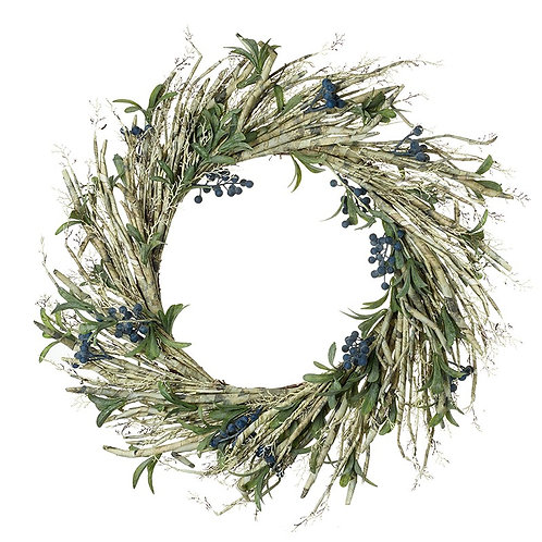 Snowy Green & Blue Spray Berry Wreath