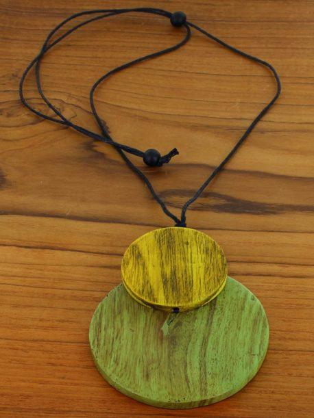 Wooden Double Disc Pendant Necklace (Adjustable)