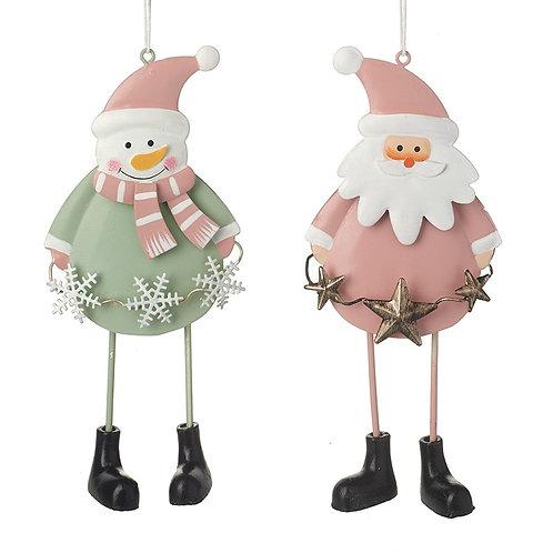 Santa & Snowman Metal Hanger