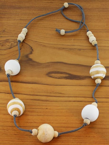 Long Stripy Wooden Ball Necklace