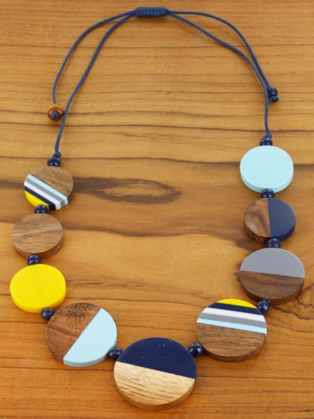 Resin & Wood Disc Necklace