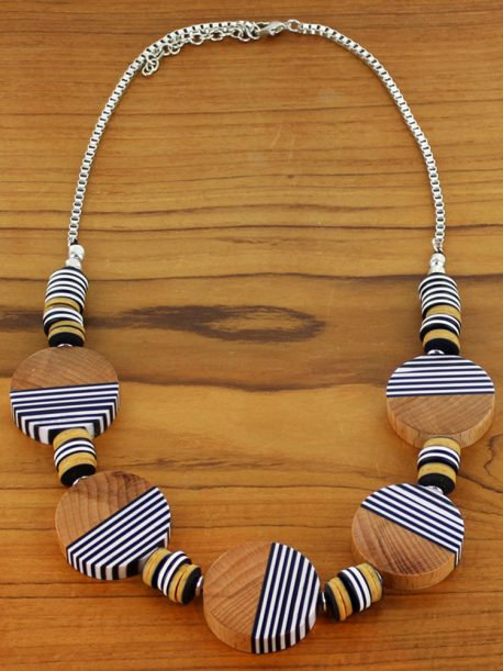 Striped Resin & Wood Disc Necklace