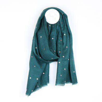 Teal green scarf with rose gold stars