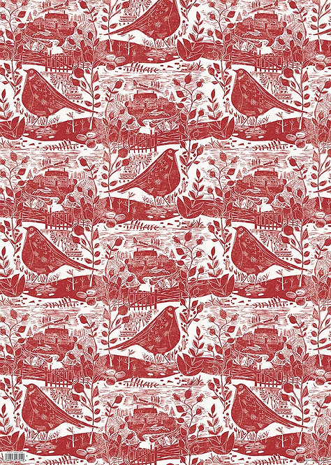 Sam Wilson Garden Bird Red Gift Wrap