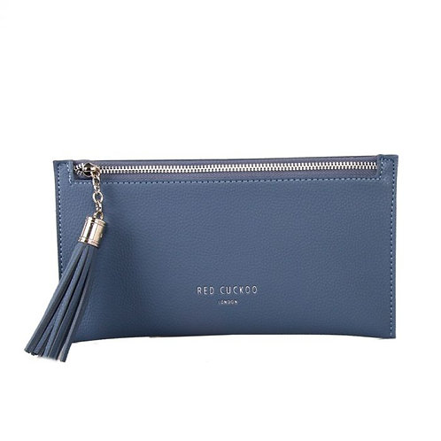 Blue Coin Purse with Tassel Zip