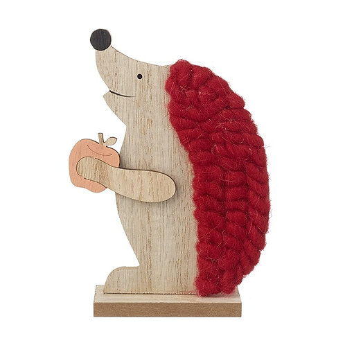 Wooden Hedgehog With Wool Detail