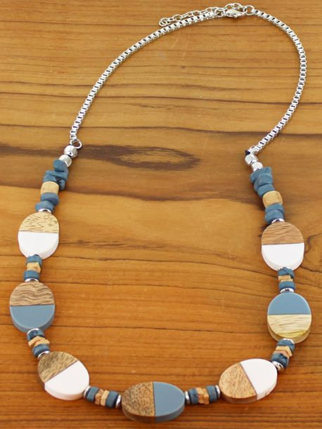 Two-Tone Resin & Wood Oval Necklace