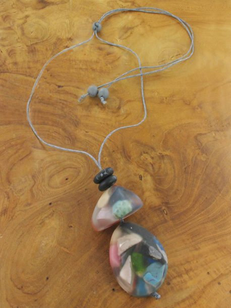 Chunky Resin Pebble Pendant Necklace