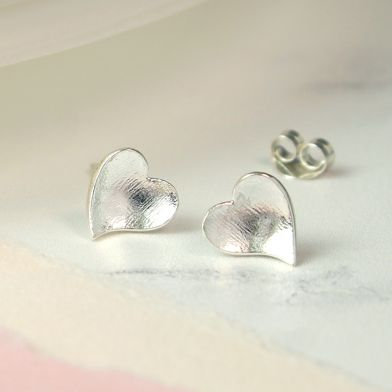 Sterling Silver Concave Heart Earrings