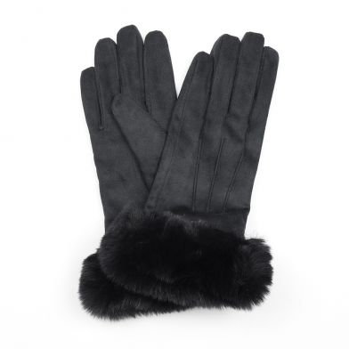 Black faux suede and faux fur gloves
