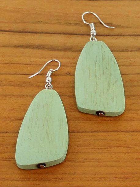 Simple Wooden Pebble Earring