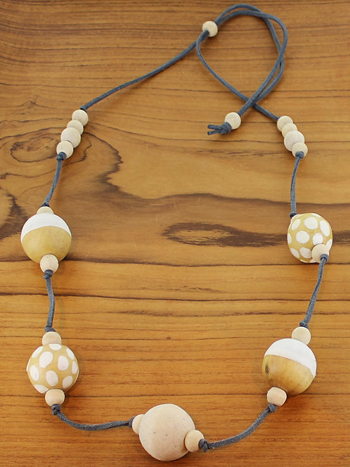 Long Spotty Wooden Ball Necklace