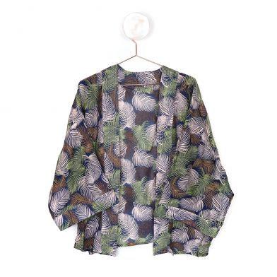 Navy Mix Leaf Print Kimono