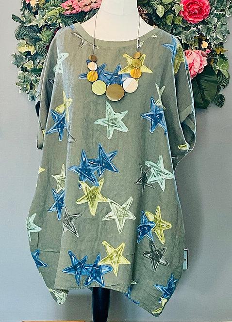 Green Star Linen Dress