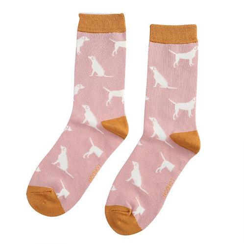 Labradors Socks Dusky Pink