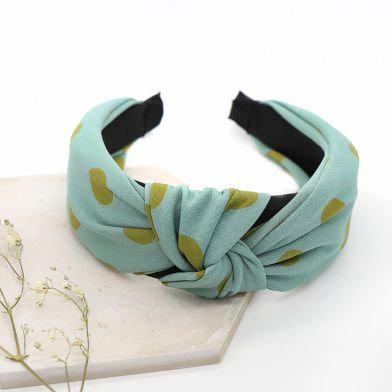 Blue and green spot print headband