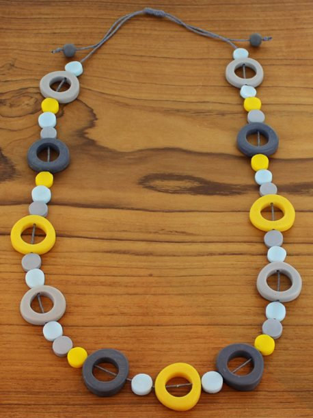 Long Resin Hoop & Disc Necklace – Blue & Yellow