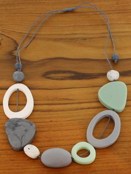 Short Mixed Shape Resin Necklace – Mint & Grey (Adjustable)
