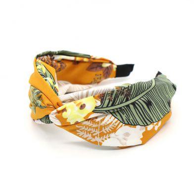 Mustard fabric headband with botanical print