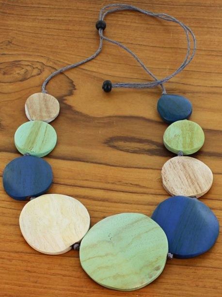 Graduated Wooden Disc Necklace (Adjustable)
