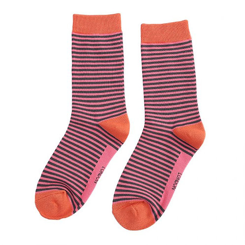 Mini Stripes Socks Grey & Bright Pink