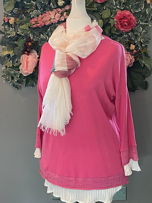 Made in Italy Fuchsia Pink Jumper with White Ruffles
