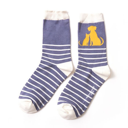 Cat & Dog Stripe Socks Denim