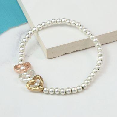 Triple Heart Mixed Metallic Bracelet