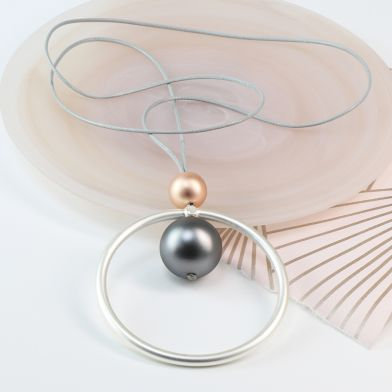 Mixed metallic large hoop and matt bead necklace