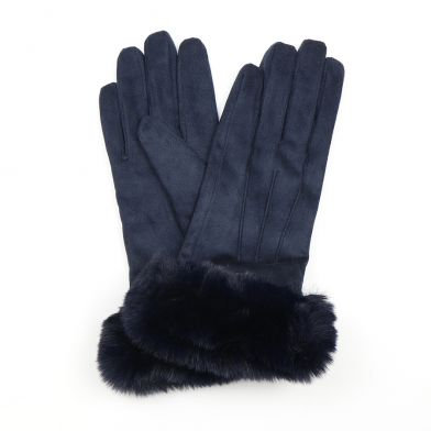Navy blue faux suede and faux fur gloves