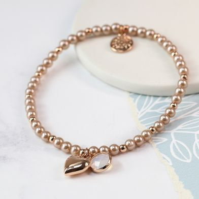 Rose gold heart, crystal and pink pearl bracelet