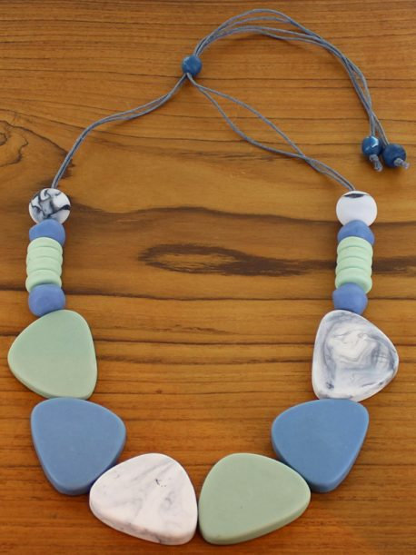 Resin Pebble And Disc Necklace (Adjustable)
