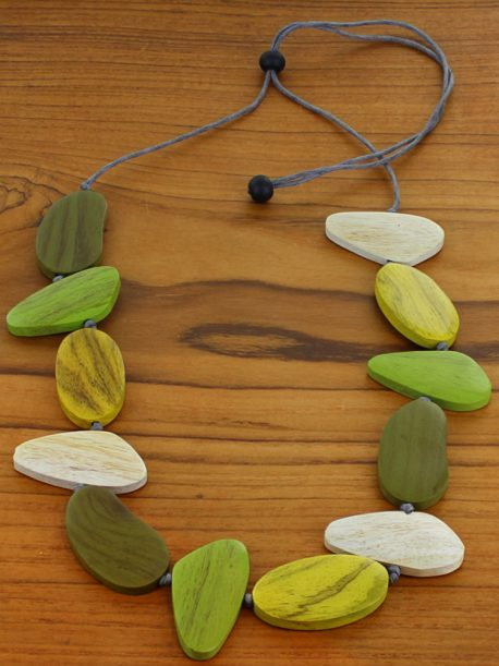 Asymmetric Wooden Pebble Necklace (Adjustable)