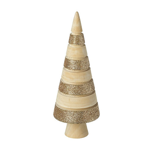 Large Wooden & Gold Glitter Cone Tree