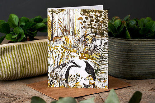 Badger & Crow Greetings Card