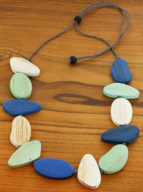 Asymmetric Wooden Pebble Necklace (Adjustable)