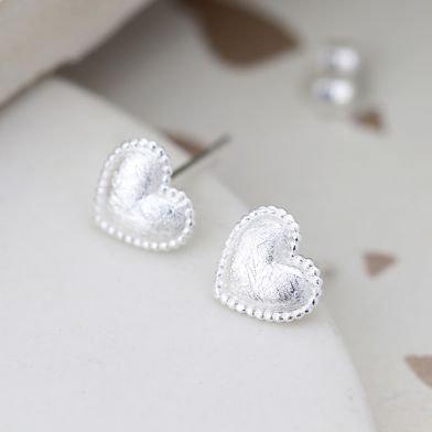 Sterling silver scratched heart earrings