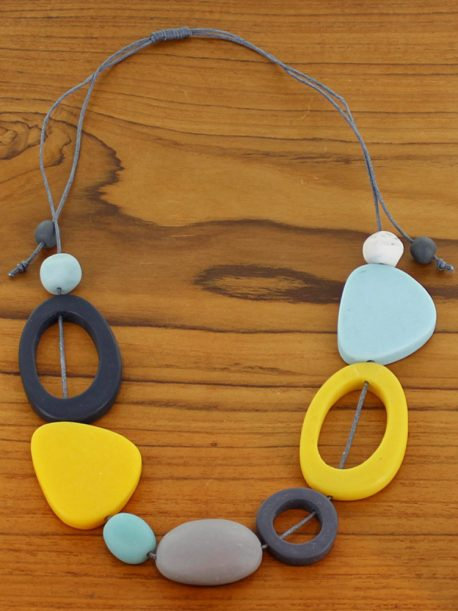 Short Mixed Shape Resin Necklace – Blue & Yellow (Adjustable)