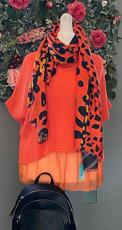 Dreams Orange Cotton Waffle Top