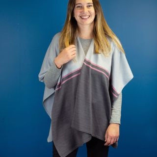 Heather and grey knit wrap with stripes