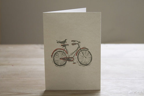 Bird On Bicycle Greetings Card