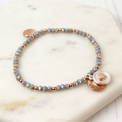 Rose Gold Scratch Disc Heart Disc Grey Bead Bracelet