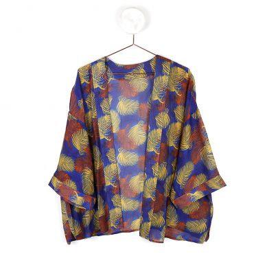 Blue  and Rust Mix Leaf Kimono