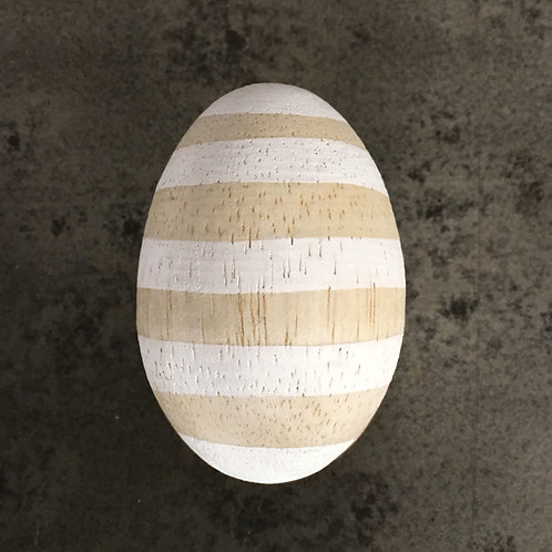 Wooden Egg-White Striped