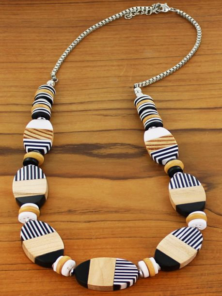 Long Striped Resin & Wood Oval Necklace