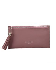 Mauve Coin Purse with Tassel Zip