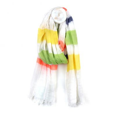 Fine white scarf with bold stripes