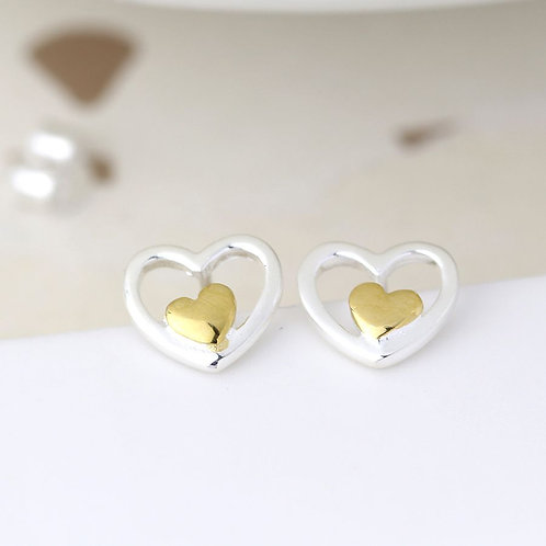 Sterling silver and gold double heart earrings
